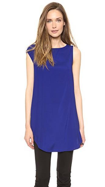 Zero + Maria Cornejo dress tunic dress silk blue