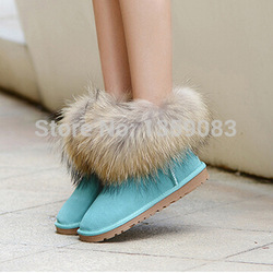 Online Shop free shipping 100% Natural Fox Fur Genuine Leather Snow Boots For Women Waterproof Women's Winter Boots not ugglis|Aliexpress Mobile