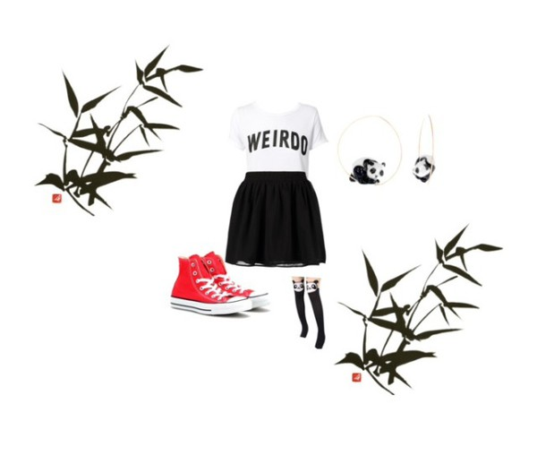 black and white weird shirt panda red converse black stockings