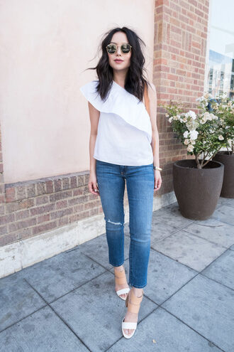 the fancy pants report blogger top jeans shoes sunglasses shirt tank top pants sandals white top spring outfits tumblr ruffled top ruffle one shoulder denim blue jeans sandal heels high heel sandals white sandals