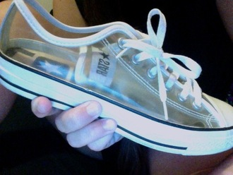 shoes converse clear all star sneakers white low top transparent plastic gangsta plastic converse