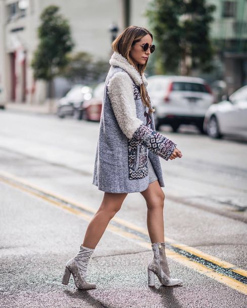 grey dress and boots