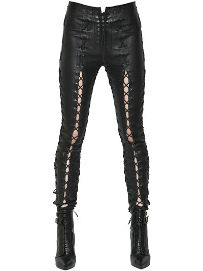 wholesale dealer top-rated fashion popular brand LUISAVIAROMA.COM - UNRAVEL - SKINNY LACE-UP STRETCH LEATHER PANTS