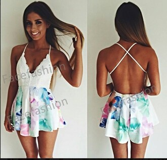 jumpsuit romper flowers white girls summer top hot sexy perfect playsuits jumpsuit/rompers cleavage