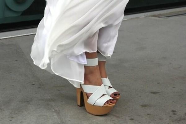 Shoes Clogs Straps Wooden White Heels Pumps