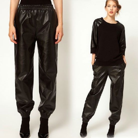 Faux PU Leather Sweatpants Harem Trousers with Real Pockets Black Elastic Waist | eBay