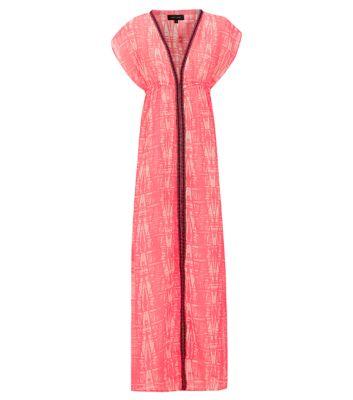 Pink contrast tape trim maxi dress
