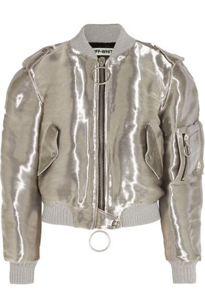 Off-White - Metallic Taffeta Bomber Jacket - Silver