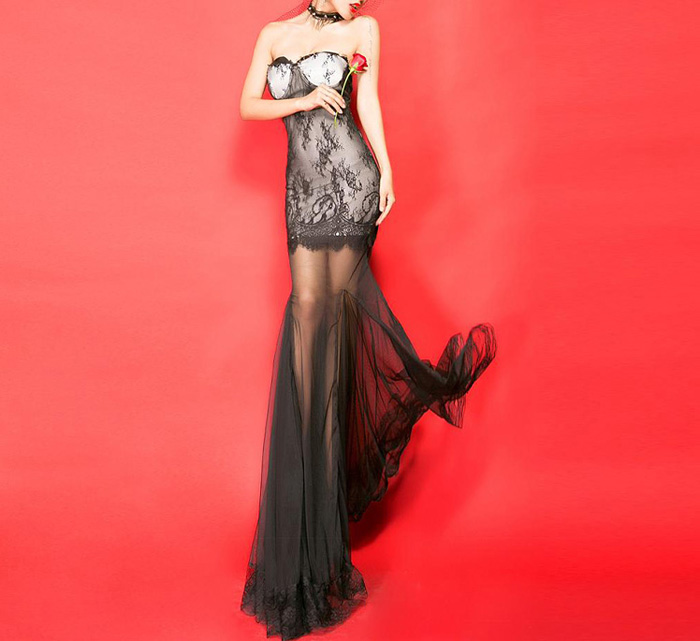 Through sexy style sleeveless voile splicing women's maxi dress