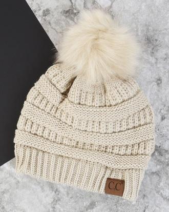 hat white knit cap beanie pom pom beanie