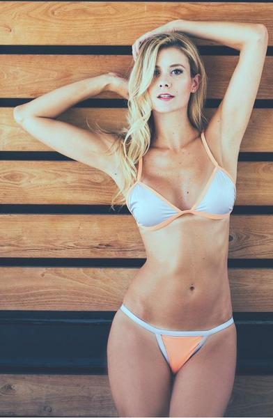 Sydney Triangle Bikini Set - Peach and Silver
