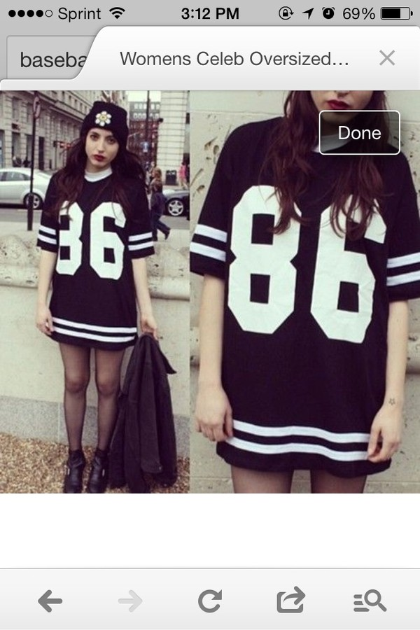 dress baseball tee black and white