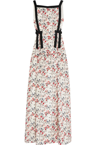 gown embroidered silk dress
