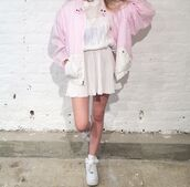 jacket,pink,cute,kawaii,bomber jacket,90s style,80s style,grunge,soft grunge,sweet,joanna kuchta,charlie barker,hipster,blogger,vintage,pastel,pale,japanese fashion,jfashion,korean fashion,kfashion,lovely,fancy