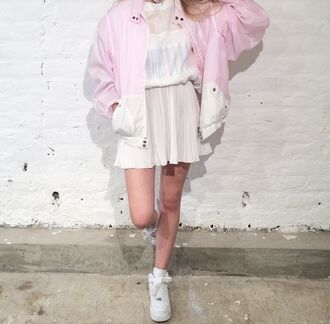 jacket pink cute kawaii bomber jacket 90s style 80s style grunge soft grunge sweet joanna kuchta charlie barker hipster blogger vintage pastel pale japanese fashion jfashion korean fashion kfashion lovely fancy