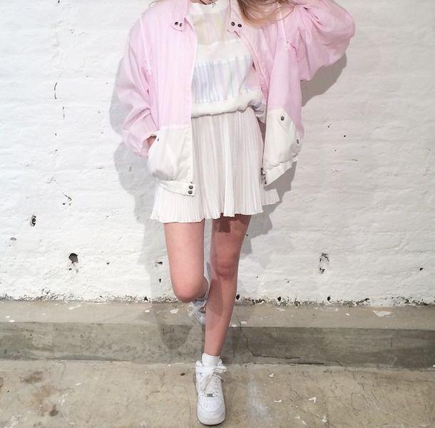 Jacket pink cute kawaii bomber jacket 90s style 80s style grunge soft grunge sweet ...
