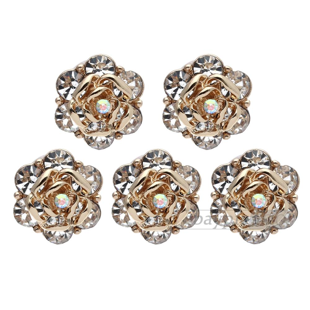 Home button sticke shiny rhinestone alloy flower shape for iphone 4/4s/5/5s