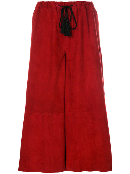 cropped women cotton suede red pants
