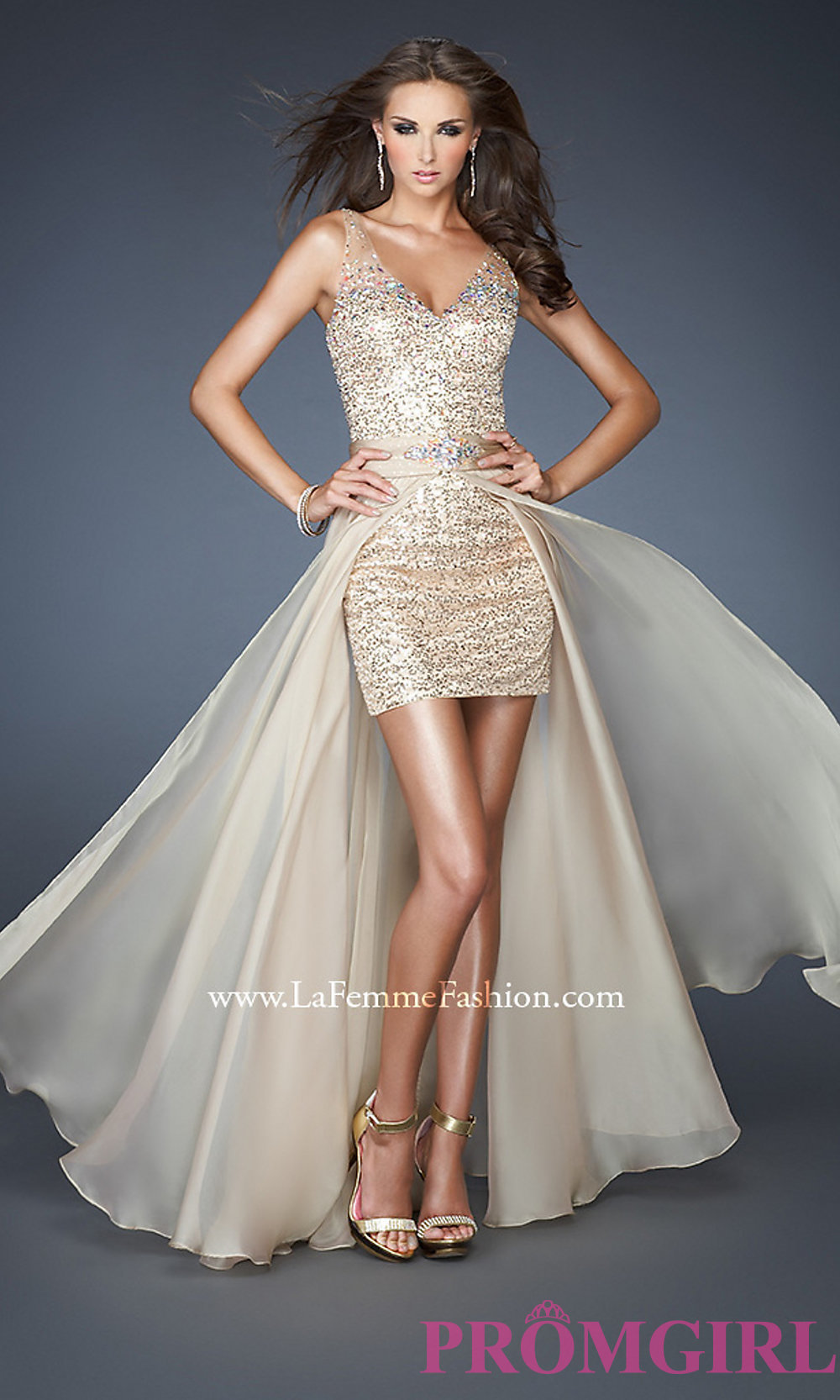 Neck sequin dress with removable skirt