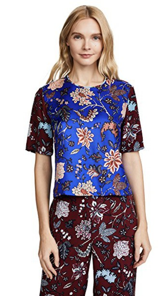 Diane Von Furstenberg cropped blue top