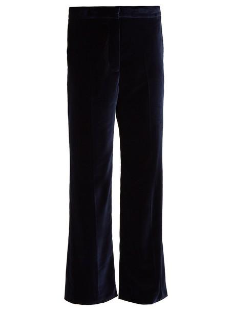 flare cropped velvet navy pants