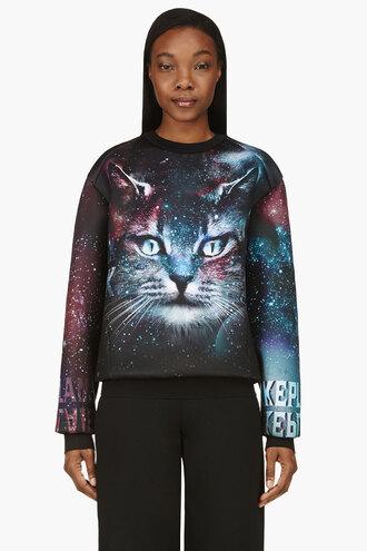 cosmic black clothes purple sweater ssense exclusive cats women crewneck