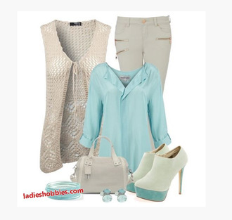 sweater top knitted top vest sweater vest knit vest sleeveless sweater pants blouse three-quarter sleeves bag purse heels high heels boots ankle boots clothes outfit teal blouse soft teal cream sweater