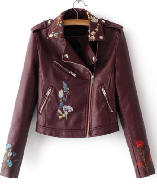 jacket biker jacket leather leather jacket embroidered floral