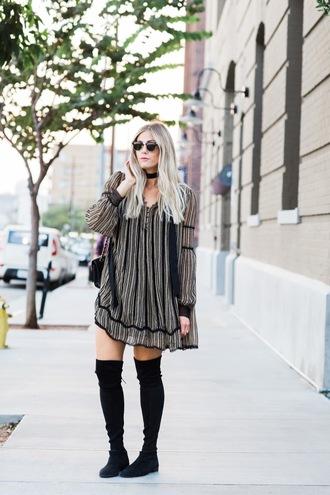 devon rachel blogger dress sunglasses bag long sleeves mini dress stripes grey dress choker necklace knee high boots suede boots jewels absolutemarket