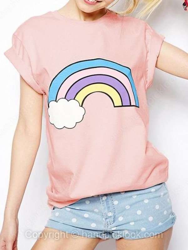 pink top t-shirt cute top clothes rainbow clouds