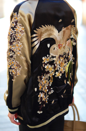 jacket,baseball jacket,oriental print,coat,satin bomber