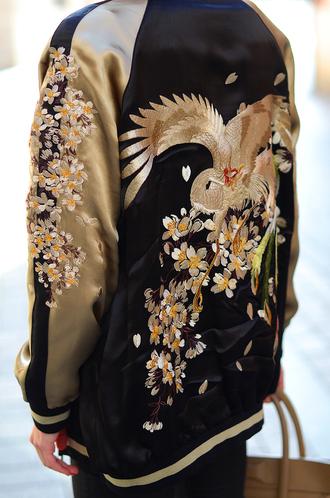 jacket baseball jacket oriental print coat satin bomber