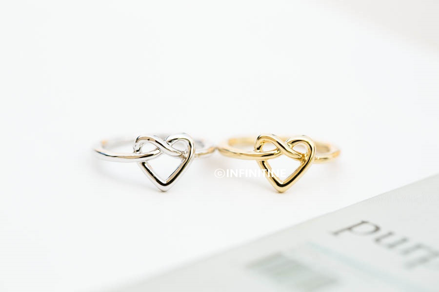 Love tie knot heart knuckle ring,rn2437