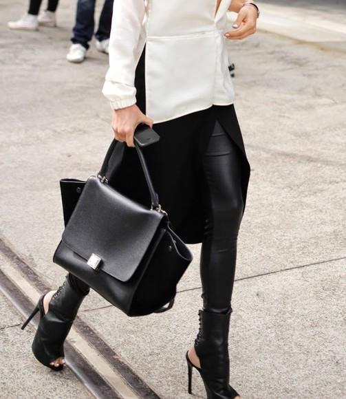high heels black bag boots open toes open toe high heels leather black boots black shoes open heel laces lace up ankle boots ankle boots blouse