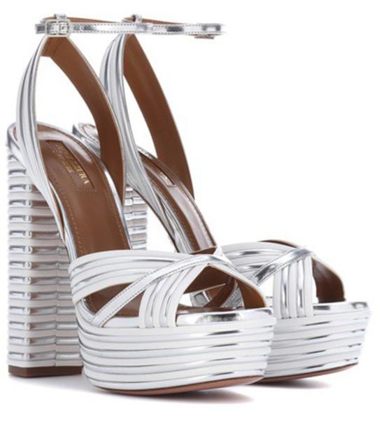 Aquazzura sandals leather sandals leather silver shoes
