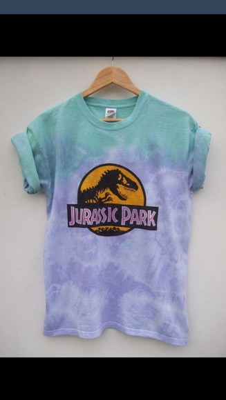 blue shirt purple shirt tiy diy jurassic park