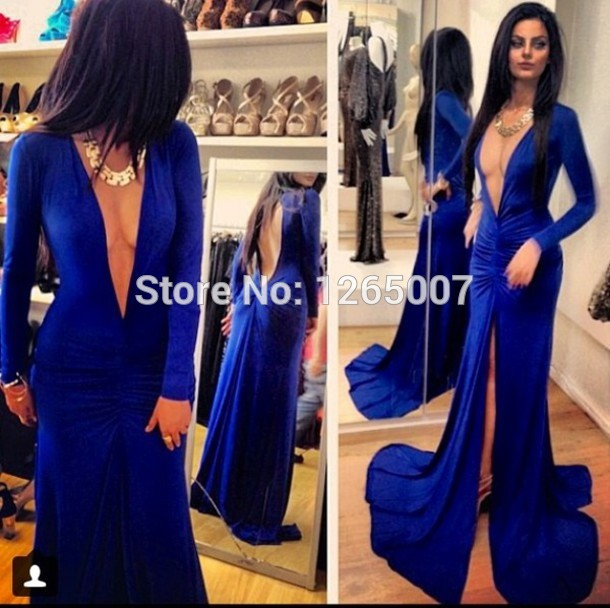 Aliexpress.com : Buy New Arrival Deep V Neck Long Sleeves High Slit Open Back Royal Blue Formal Evening Dress Formal Long Dress from Reliable dress right dress suppliers on SFBridal
