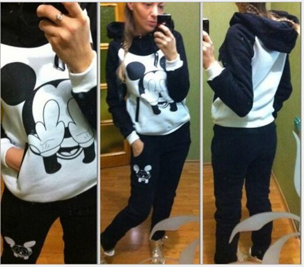 hoodie coat mickey mouse joggers jacket women set sport suit 2014 fashion hoodie sweatshirt