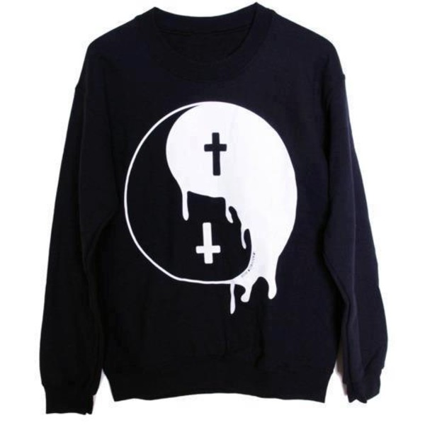 sweater jing jang good and bad black white tao. yin yang yin yang oversized sweater cross crewneck pullover yin yang melt cool pastel goth ying yang sweater pastel goth shirt yin yang shirt top yin yang sweater black sweater zaful