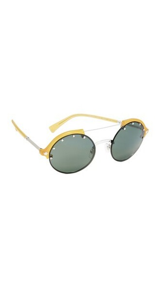 studded sunglasses opal green yellow