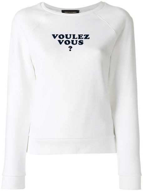 Vanessa Seward - slogan print sweatshirt - women - Cotton/Polyester - 40, White, Cotton/Polyester