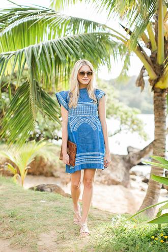 modern ensemble blogger denim dress blue dress summer dress