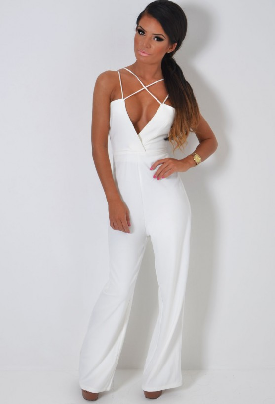 Switch white deep plunge wrap jumpsuit