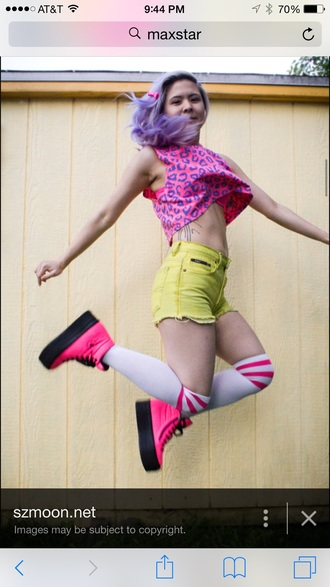 shoes kawaii style fashion neon rainbow colorful purple hair shorts crop tops leopard print knee high socks pink yellow purple boots shirt socks