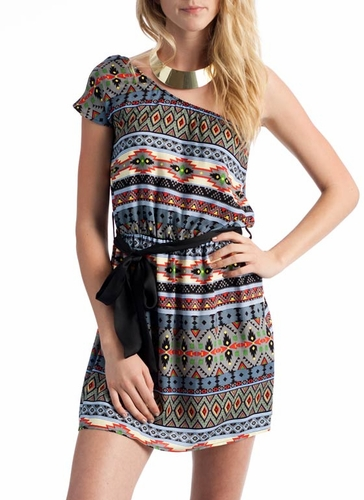 asymmetrical aztec print dress $23.00 in GREY MUSTARD - Casual | GoJane.com ($20-50) - Svpply