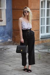 top,stripes,striped top,wide-leg pants,bag,retro sunglasses