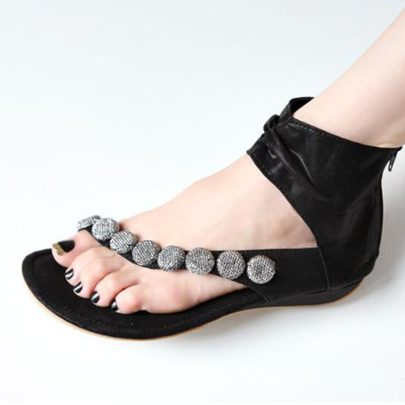shoes sandals flat sandals rhinestones flats flatform sandals