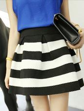 skirt,blue,black and white,formal skirt,dress,cotton blend,beautiful,streetstyle,vintage