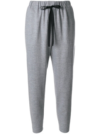 pants track pants women drawstring wool grey