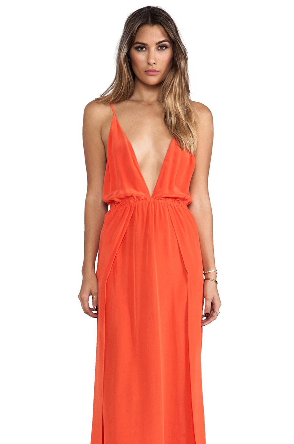 Indah River Silk Crepe Split Front Wrap Side Maxi Dress With Adjustable Tie Back in Papaya | REVOLVE